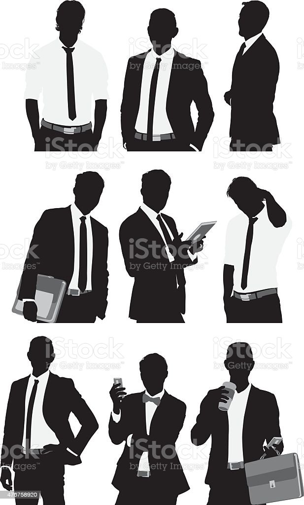 Businessmen in various actions vector art illustration