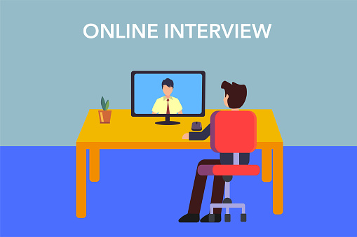 Businessmen job interview via conference call