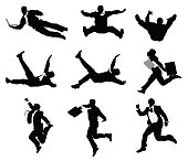 Businessmen jumping and falling