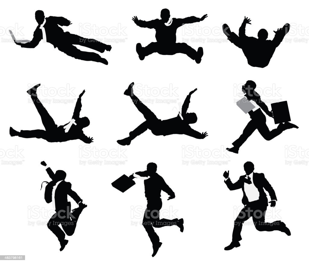 Businessmen jumping and falling vector art illustration