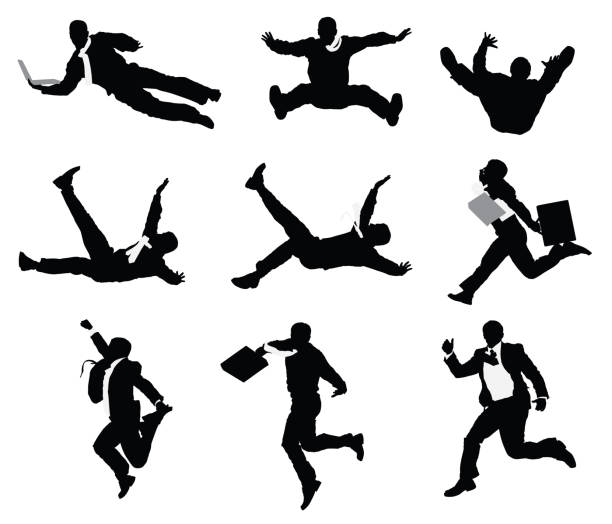 Businessmen jumping and falling vector art illustration