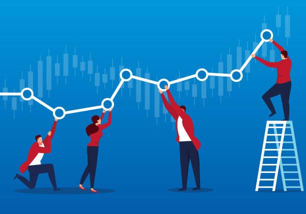 ilustrações, clipart, desenhos animados e ícones de empresários mantém o gráfico rentável - economia