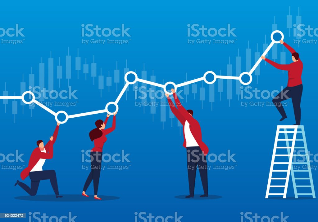 Businessmen keep the chart profitable vector art illustration