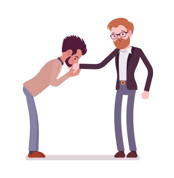 illustrazioni stock, clip art, cartoni animati e icone di tendenza di businessmen kiss gesture - kids kiss embarrassed
