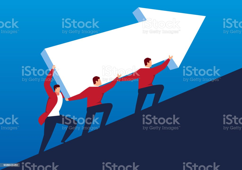 Businessmen lift their arrows to the top vector art illustration