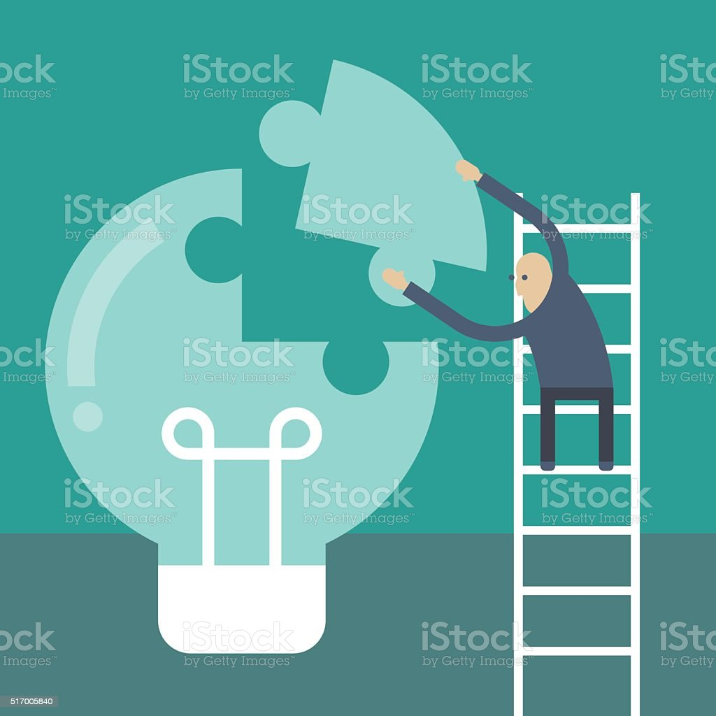 Businessmen making a building puzzle which is an light bulb vector art illustration