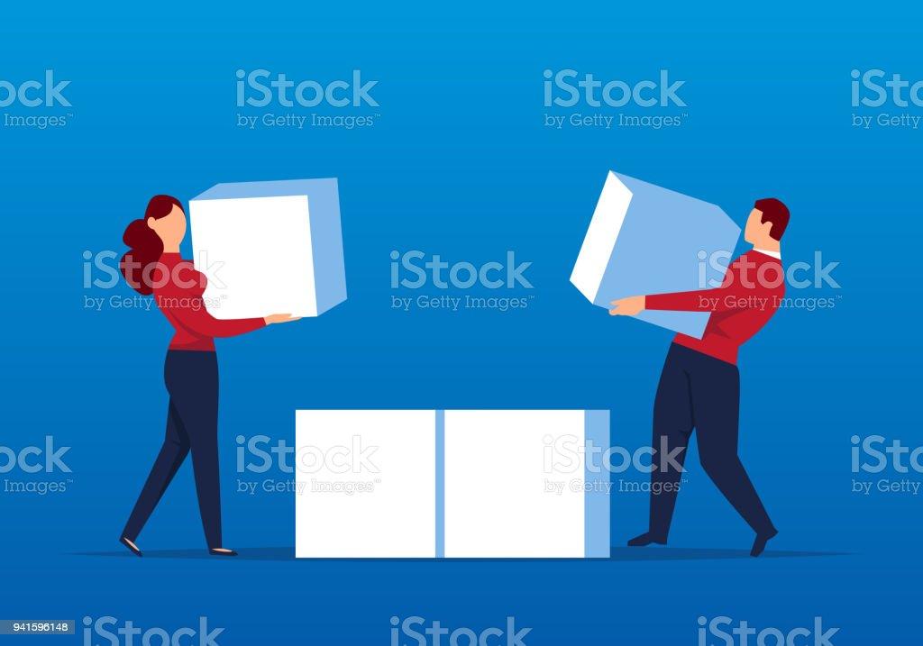 Businessmen move cubes together vector art illustration