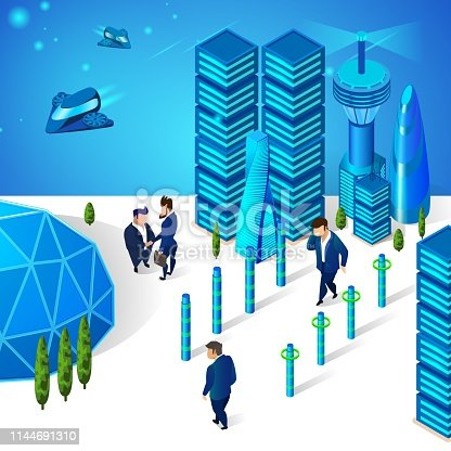 Businessmen Moving on Street of Futuristic City with Modern Architecture, Glass Sphere Dome and Multistorey Buildings. Spaceships and Airplanes Flying at Sky. 3D Isometric Cartoon Vector Illustration.