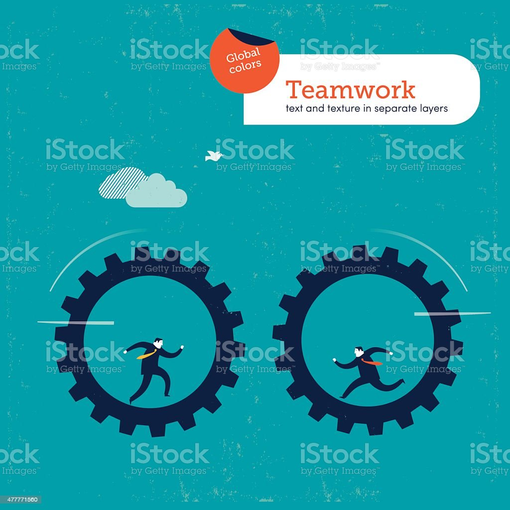 Businessmen on gears approaching one another vector art illustration