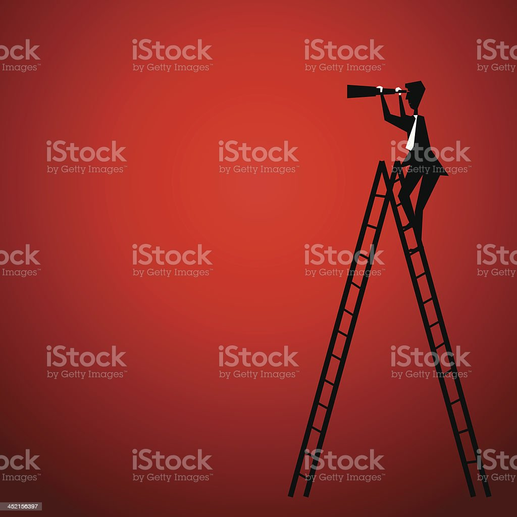 businessmen on ladder use binocular royalty-free stock vector art