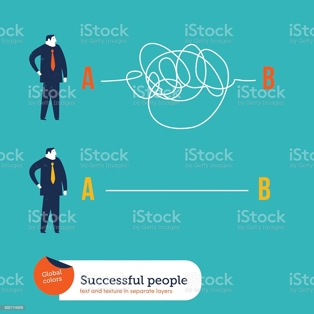 Businessmen one with clear plans the other with chaotic plans vector art illustration