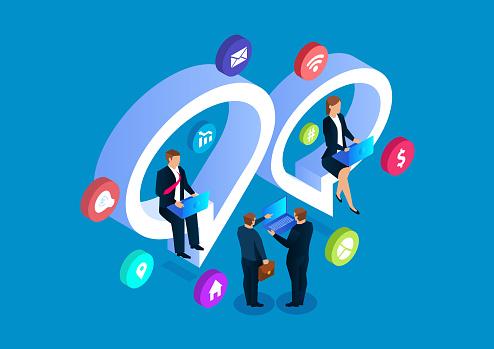 Businessmen online chat discussion, social media network