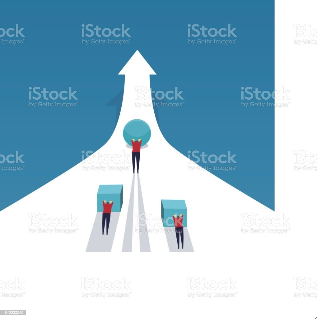 Businessmen push different things to the target vector art illustration