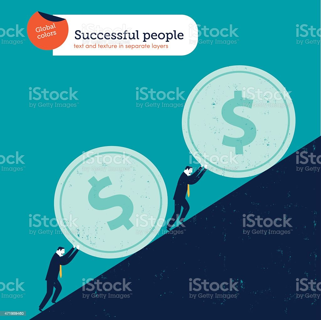 Businessmen pushing dollar coins uphill vector art illustration