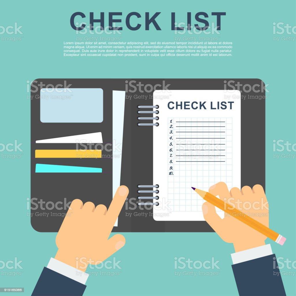 Businessmen put marks in the checklist. vector art illustration