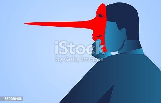 istock Businessmen put on the mask of lies, falsehood and politics 1332989466