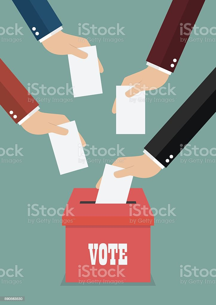 Businessmen putting papers in the ballot box vector art illustration