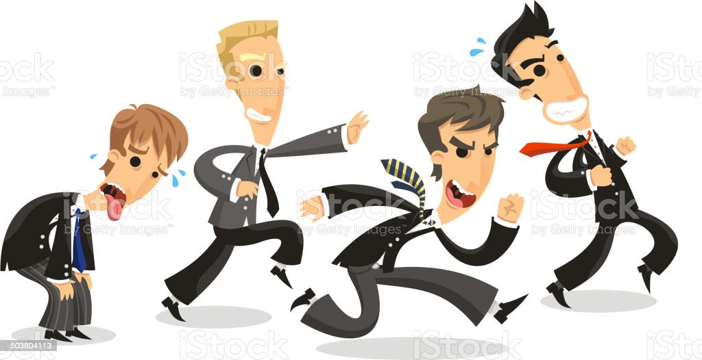 Businessmen Race with suit and tie running to battle royalty-free stock vector art