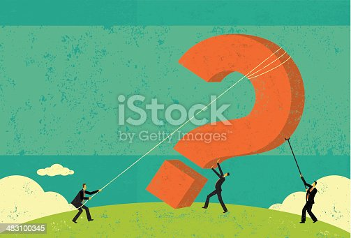 Businessmen raising a big question mark. The men and background are on separate labeled layers.