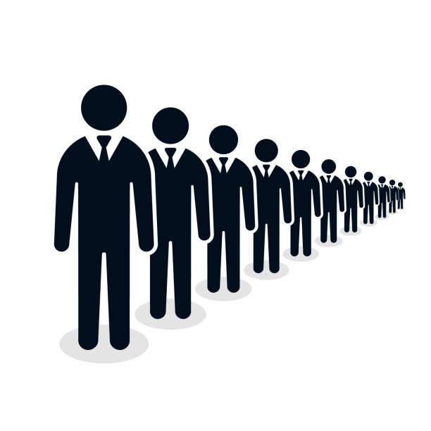 Businessmen ranks, people line group of human silhouette figures illustration Businessmen ranks, people line group of human silhouette figures illustration. people in a row stock illustrations