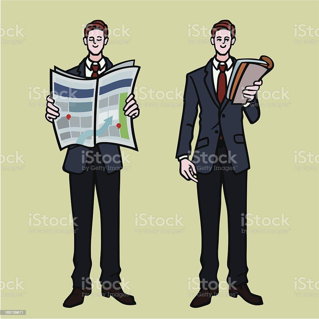 businessmen reading stock market data royalty-free stock vector art