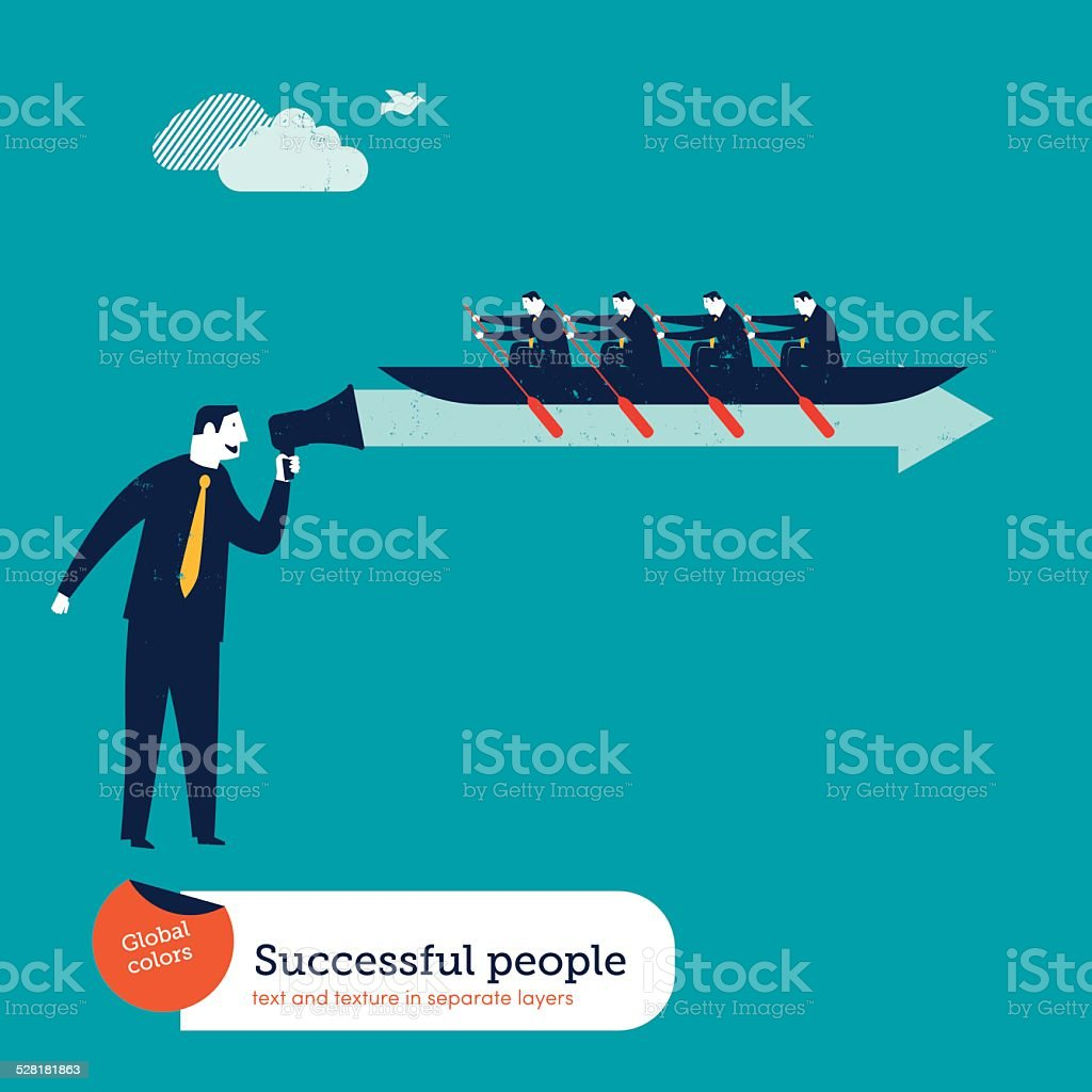 Businessmen rowers in a wave from a megaphone vector art illustration