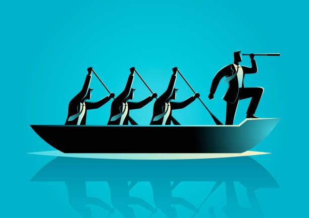 Geschäftsleute, die das Boot rudern – Vektorgrafik