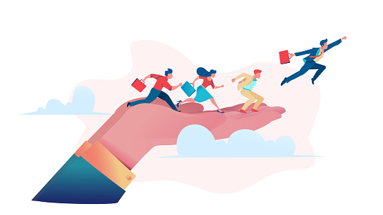 Businessmen run along big hand and fly up above clouds.  Business opportunity concept. Metaphor of sponsor or patron helps young business. Flat vector illustration