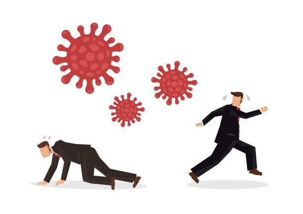 Businessmen run away from coronavirus. Concept of coronavirus impact on economy. Businessmen run away from coronavirus. Concept of coronavirus impact on economy. Vector illustration. deathly stock illustrations