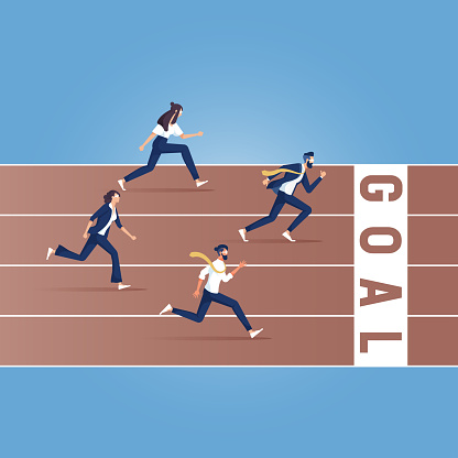 Businessmen running down the track, Business Competition vector illustration
