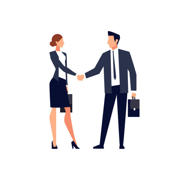 illustrazioni stock, clip art, cartoni animati e icone di tendenza di businessmen shake hands isolated on white background. - business man