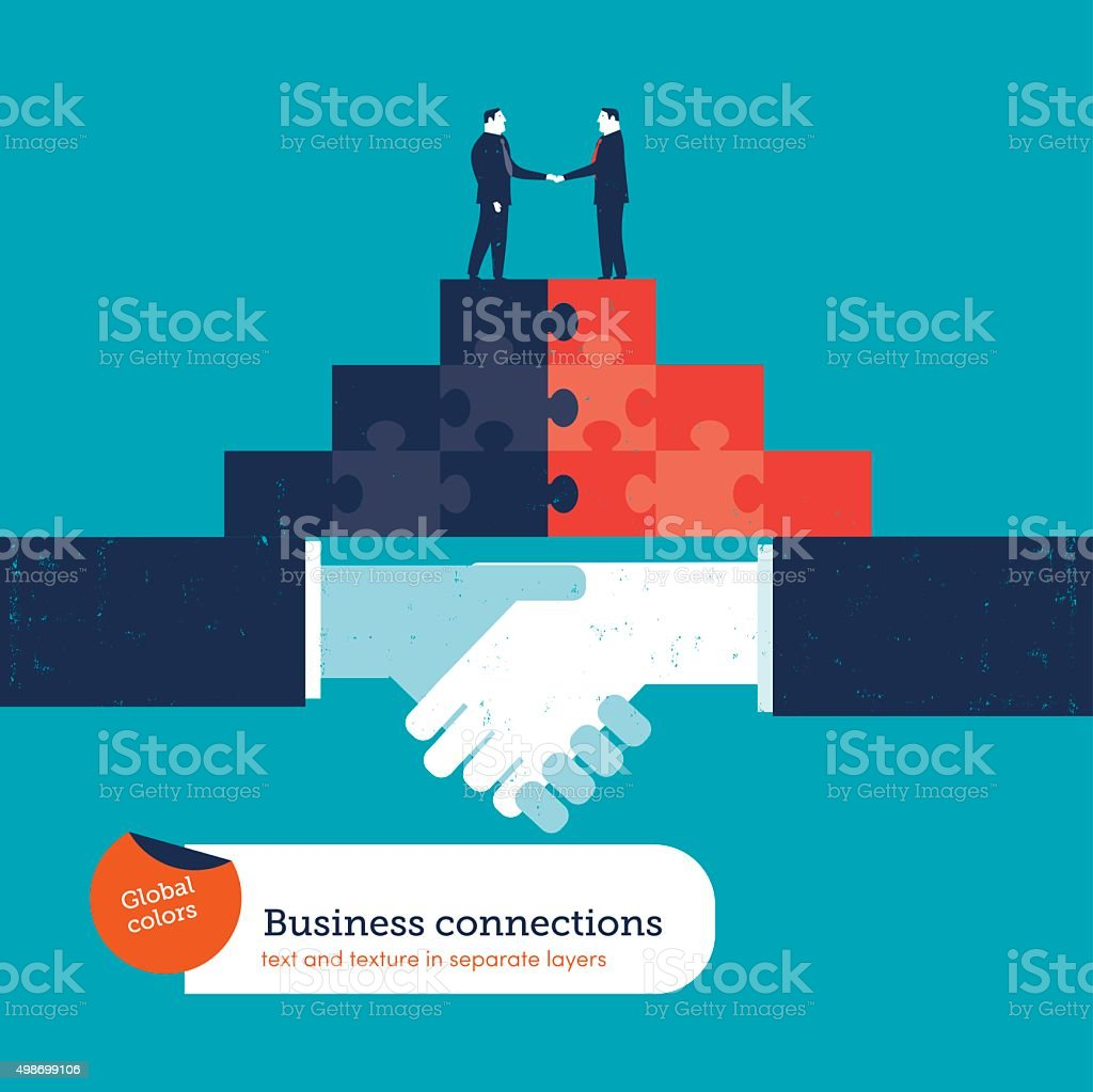 Businessmen shaking hands on a puzzle pyramid on a handshake vector art illustration