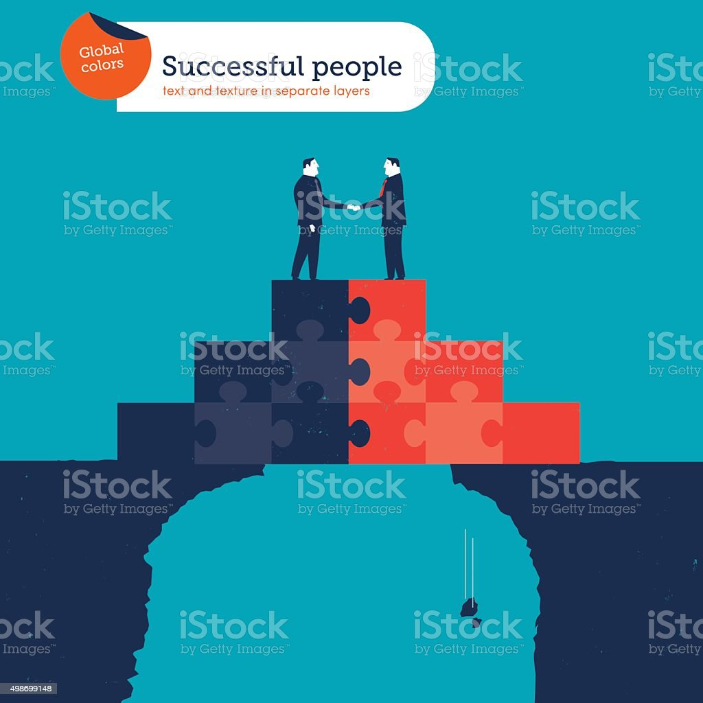 Businessmen shaking hands on a puzzle pyramid on an abyss vector art illustration