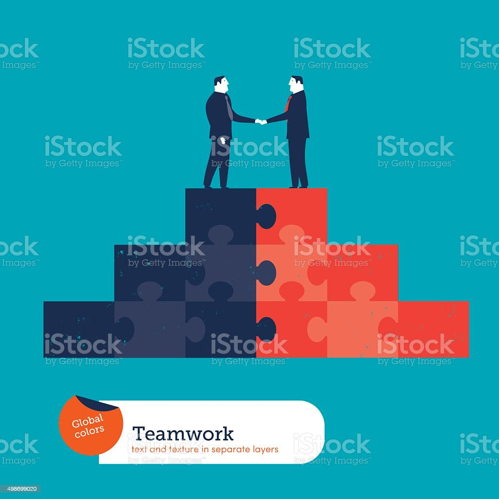 Businessmen shaking hands on a puzzle pyramid vector art illustration