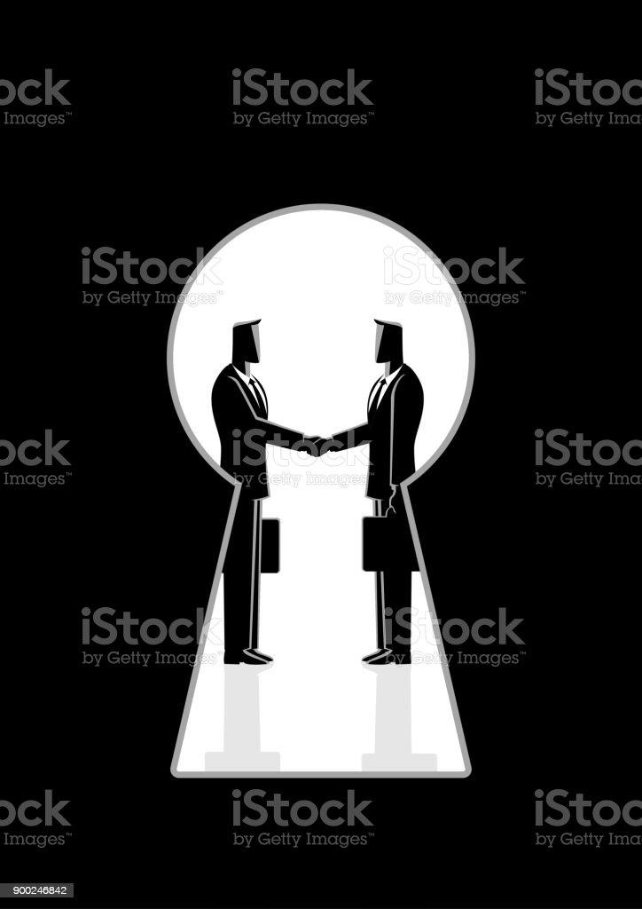 鍵穴を通して見た握手するビジネスマン - イラストレーションのロイヤリティフリーベクトルアート