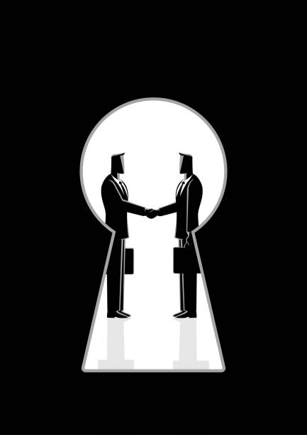 Businessmen shaking hands seen through a keyhole Business concept vector illustration of two businessmen shaking hands seen through a keyhole, business idiom for backroom deal bribing stock illustrations
