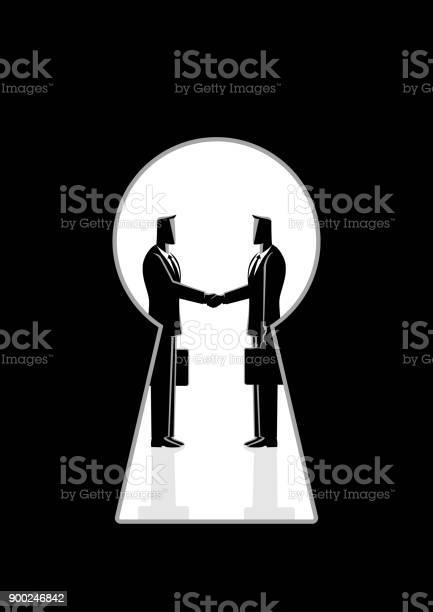 鍵穴を通して見た握手するビジネスマン - イラストレーションのベクターアート素材や画像を多数ご用意