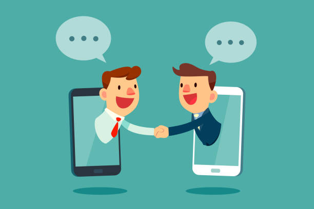 Geschäftsleute Händeschütteln durch Smartphone-Bildschirm – Vektorgrafik