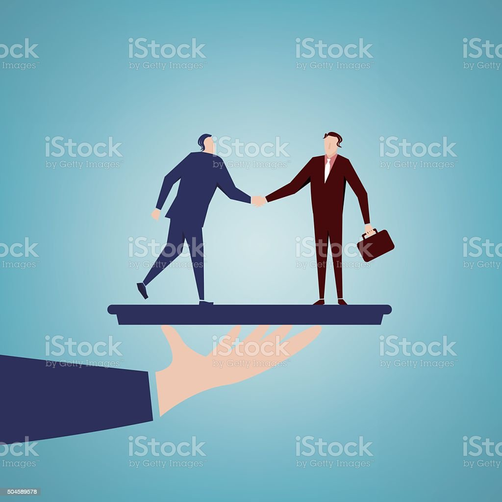 businessmen shaking hands vector art illustration