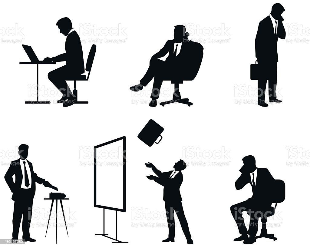 Businessmen silhouettes vector art illustration