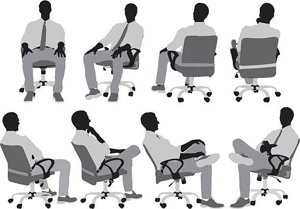 bildbanksillustrationer, clip art samt tecknat material och ikoner med businessmen sitting on chair - korslagda ben