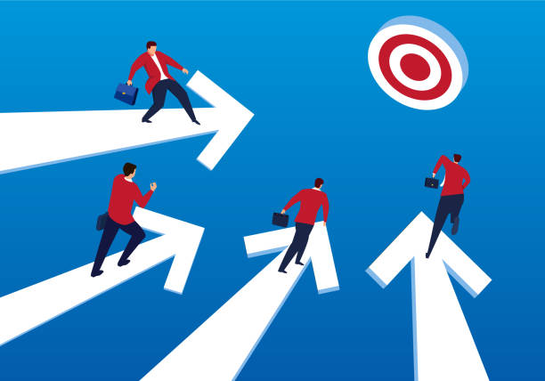 Businessmen stand on arrow and rush to goal Businessmen stand on arrow and rush to goal four people stock illustrations