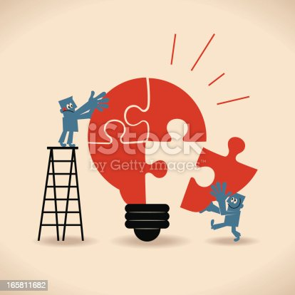 istock Businessmen standing on ladder, completing an idea light bulb puzzle 165811682