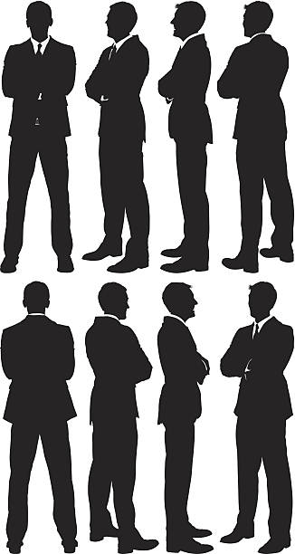Businessmen standing with arms crossed vector art illustration