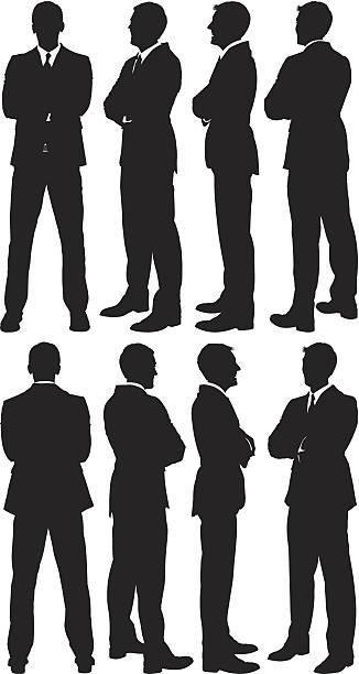 ilustrações de stock, clip art, desenhos animados e ícones de empresário de pé com os braços cruzados - portrait of confident business