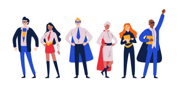ilustrações de stock, clip art, desenhos animados e ícones de businessmen superheroes. entrepreneur, manager in a hero costume. - super hero
