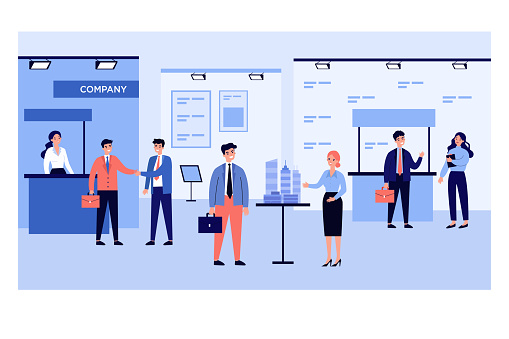 Businessmen talking to visitors at business exhibition. People at expo center showing products flat vector illustration. Marketing, presentation concept for banner, website design or landing web page
