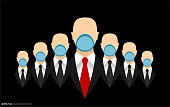 Businessmen Teamwork in Black Suits with Necktie Wearing Face Masks
