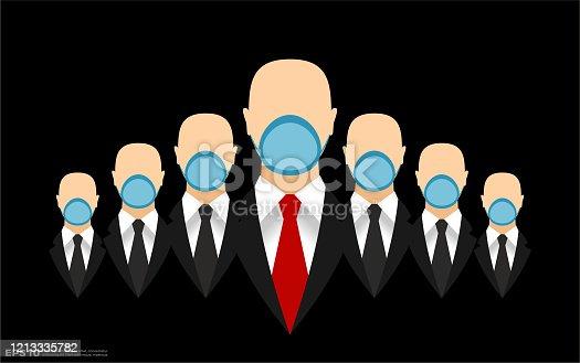 istock Businessmen Teamwork in Black Suits with Necktie Wearing Face Masks 1213335782