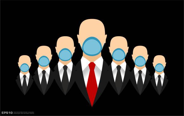 illustrazioni stock, clip art, cartoni animati e icone di tendenza di businessmen teamwork in black suits with necktie wearing face masks - businessman covid mask